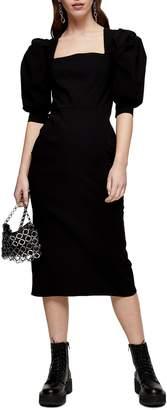 Topshop Bengaline Square Neck Dress
