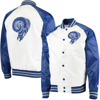 Men's Starter White/Royal Los Angeles Rams Clean Up Throwback Varsity Full-Snap Jacket