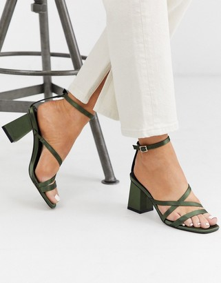 ASOS DESIGN Heartening block heeled sandals in khaki