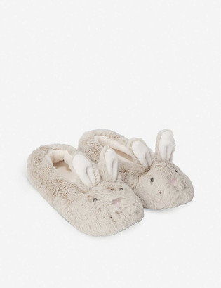 The Little White Company Bunny-ear velour slippers