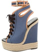 Pierre Hardy Canvas Lace-Up Wedges