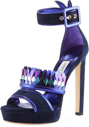 Jimmy Choo Kathleen Suede Ankle-Wrap Sandal