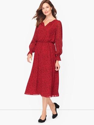 Talbots Smocked Split Neck Dress