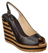 Jimmy Choo Prova Leather Slingback Braided Stripe Wedge.