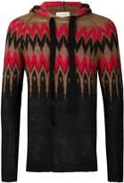 Laneus zig-zag hooded sweater