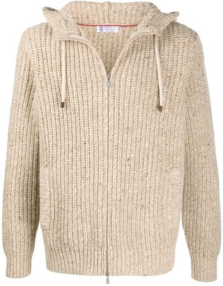 Brunello Cucinelli Knitted Zipped Hoodie