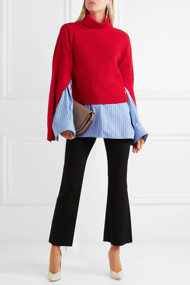 Versace Split-sleeve Ribbed Wool Turtleneck Sweater