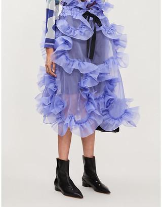 Roberts Wood Ruched-applique high-waist silk skirt