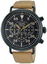 Pulsar PT3479 44mm Ion Plated Stainless Steel Case Brown Calfskin Mineral Men's Watch