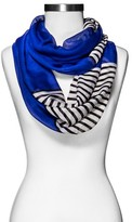 Xhilaration Women's Solid and Stripe Infinity Scarf Blue