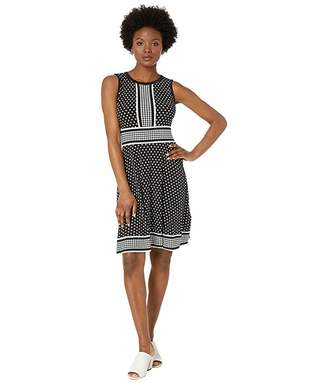MICHAEL Michael Kors Petite Simple Dot Sleeveless Border Dress (Black/White) Women's Clothing