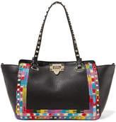 Valentino Garavani The Rockstud Embroidered Textured-leather Trapeze Bag - Black