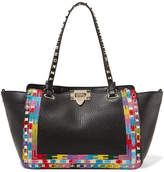 Valentino The Rockstud Embroidered Textured-leather Trapeze Bag - Black