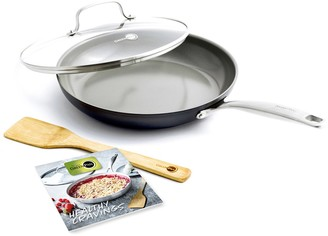 "The Original Green Pan Chatham Ceramic Non-Stick 11"" Covered Frypan with Cookbook and Spatula"