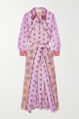 Chloe - Belted Floral-print Silk-chiffon Midi Shirt Dress - Pink