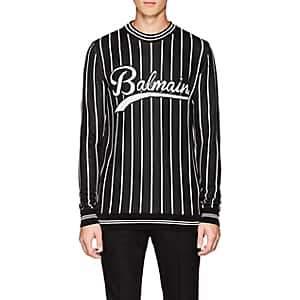 Balmain Men's Logo Striped Crewneck Sweater - Black