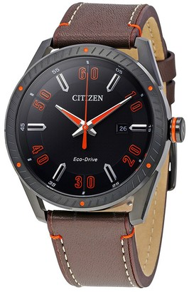 Citizen Men's Eco-Drive Brown Leather Strap Watch, 42mm