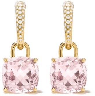 Kiki McDonough 18kt yellow gold Kiki Classics cushion cut morganite and diamond detachable tapered hoop earrings