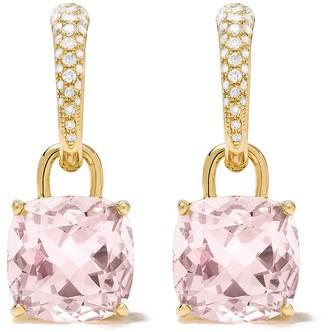 Kiki McDonough 18kt yellow gold Kiki Classics cushion cut morganite and diamond detachable tapered hoop earrings
