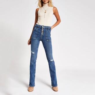 River Island Womens Blue ripped denim bootcut utility jeans