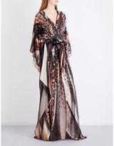 Roberto Cavalli Leopard-print embellished silk-chiffon kaftan