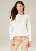 Bebe Pointelle Open Back Sweater