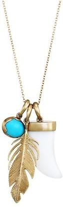 Annette Ferdinandsen 14K Yellow Gold, White Agate & Turquoise Scavenger Charm Pendant Necklace
