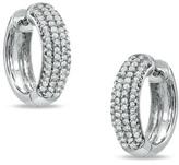 Zales 3/4 CT. T.W. Diamond Multi-Row Huggie Earrings in 10K White Gold