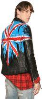 Faith Connexion Flag Hand Painted Leather Biker Jacket