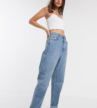 Asos Tall ASOS DESIGN Tall high rise 'Slouchy' mom jeans in midwash