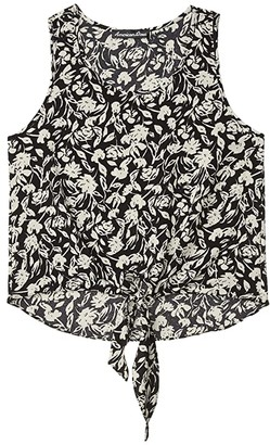 American Rose Charli Floral Tank Top with Front Tie (Black) Women's Clothing