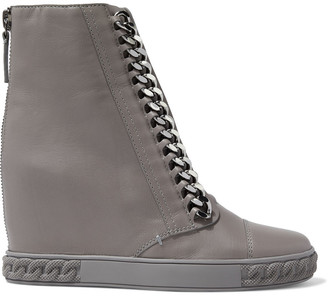Casadei Chain-trimmed Leather High-top Wedge Sneakers