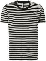 Attachment patch pocket stripe T-shirt