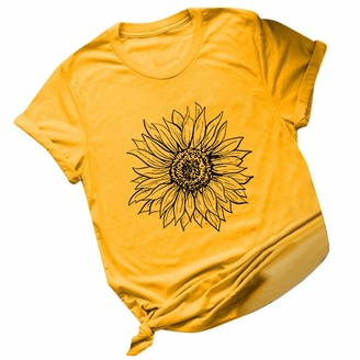 BaoDan 2020 Summer Basic Vivid Black Sunflower Tshirts for Women Plus Size Printing Casual Tops for Outdoor Beach Holiday Short Sleeve T-Shirts
