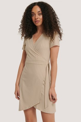 NA-KD Ribbed Wrap Dress