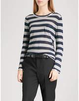Zadig & Voltaire Reja metallic-trims striped jersey top