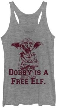 Fifth Sun Harry Potter Dobby Is A Free Elf Tri-Blend Women's Racerback Tank