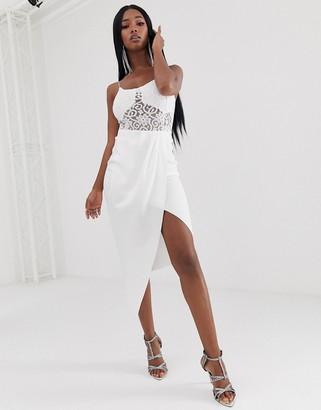 Asos Design DESIGN scuba wrap midi skirt with tuck detail-White