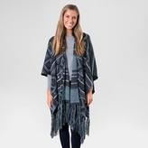 Muk Luks Women's Knit Fringe Ruana - Black