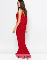 Club L Drape Front & Back Fishtail Maxi Dress