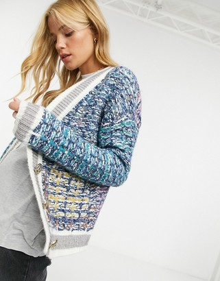 Y.A.S knitted cardigan with pocket and edge detail in blue