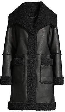 Elie Tahari Women's Rosie Sherpa Lined Faux Leather Coat
