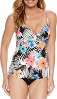 PURE PARADISE Pure Paradise Bra Sized Floral Tankini Swimsuit Top