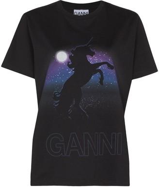 Ganni unicorn print T-shirt
