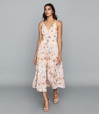 Reiss Corinne - Floral Printed Midi Dress in Pink