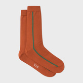 Paul Smith Men's Burnt Orange Vertical Stripe Socks