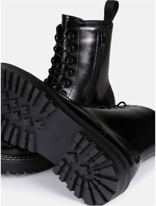 Missguided Sole Stitching Lace Up Boot - Black