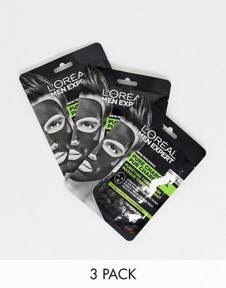 L'Oreal Men Expert Pure Charcoal Face Mask Multipack x3