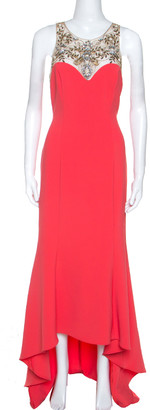 Marchesa Coral Pink Stretch Crepe Embelished High Low Gown S