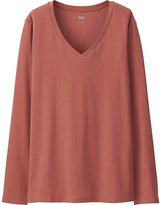 Uniqlo Women Supima Cotton V-Neck Long Sleeve T